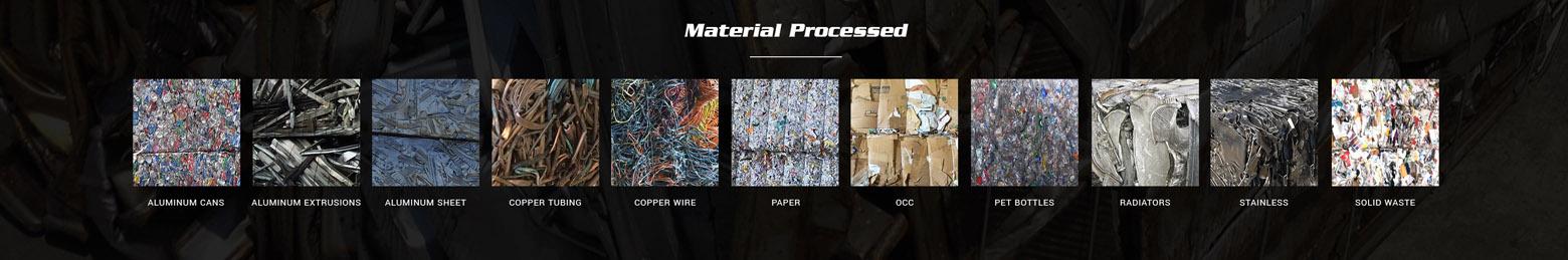 Materials Processed